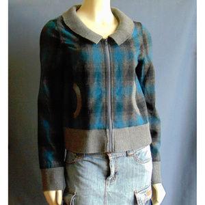 Vans Aqua Plaid Wool Blend Bomber Jacket M